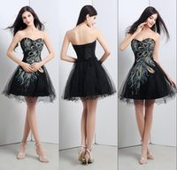 2015 Black Peacock Cocktail Dresses In Stock Sweetheart Appl...