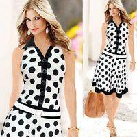 Mulheres vestidos de verão dongguan_wholesale Estilo Verão Vestidos de impressão Casual Trabalho de escritório de bolinhas vestido sem mangas Vestido Plus Size elegante