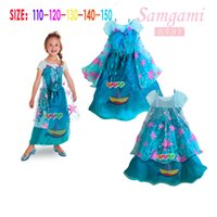 In stock DHL Frozen Fever Girl Elsa Blue Dress Kids Summer G...