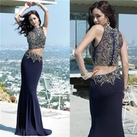 2015 Two Piece Prom Dresses Sexy Dark Navy Chiffon Mermaid W...