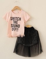 Kid Girls 2- Piece Sets Solid Letter Printed Tassel White Pin...