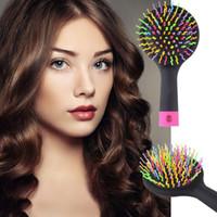 2 015 Радуга Объем Клубок Detangling Щетка для волос многоцветный Магия Шампунь для укладки волос инструмент Щетка для волос гребень с зеркалом бесплатная доставка DHL