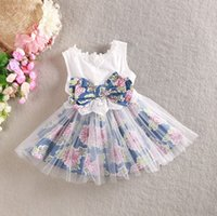 Fresh Grils Summer Dresses Sleeveless Floral Bow Cotton Tull...