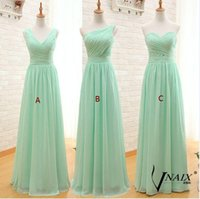 Cheap Mint Green Long Chiffon Bridesmaid Dresses 2016 Pleats...