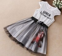 Striped Letter Printed Cap Sleeve Bowknot With Pearls Sashes...