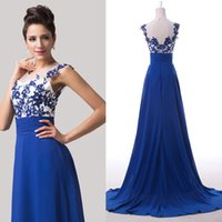 2015 Vintage Blue Sleeveless Evening Dresses Appliques Sheer...