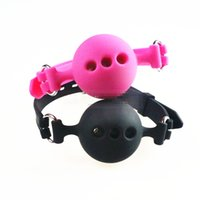 Breathable Mouth Ball Gag Full Silicone Mouth Bite With Hole...