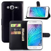 Litchi Wallet flip étui en cuir PU sac de couverture avec de l'argent de poche fentes de cartes Stand For Samsung Galaxy ACE J1 J100 J110 J200 J2 J3 J5 J7
