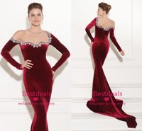 Vestidos Long Sleeve Prom Dresses 2015 Dark Red Velvet Eveni...