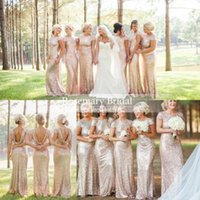 Bling Rose Gold Cheap 2016 Mermaid Bridesmaid Dresses Short ...