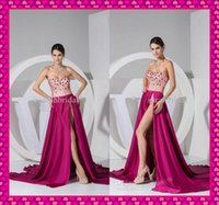 2015 Sexy High Side Slit Prom Dance Dresses Beaded Top Sweet...