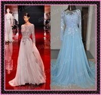 2014 Elie Saab Cheap Long Sleeve Prom Dresses Sheer Crew Nec...