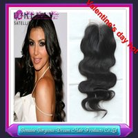 Valentine' s day hot Peruvian virgin hair lace closure 3...