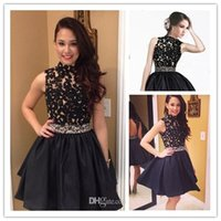 Black Homecoming Dresses 2015 Party Dresses High Neck Beach ...