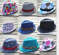 28 styles girls boys fedoras hats hot baby kids Jazz Cool Ca...