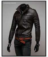 Men PU Leather Jackets Mens Apparel Clothing Outwears Collar...