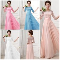 Lace Chiffon Prom Gown Dresses for Women Maxi Dress Half sle...