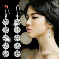 Brand New Haute Qualit Argent 925 Boucles d'oreilles Dangle Fit Brillance Earings de mariage en cristal, boucles d'oreilles mariée pour les femmes