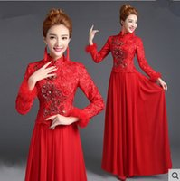 Large size Warm Chinese Traditional Cheongsam for women brid...