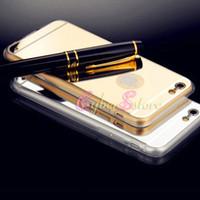 Pour iphone 6 7, plus 5S Mirror Cover Electroplating Chrome Ultrathin souple TPU Téléphone Case For iphone7 Galaxy S6 S6 bord 6plus