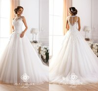 2015 High Neck Sheer Lace Wedding Dresses Romantic Vintage A...