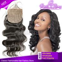 Silk Closure 100% Brazilian Virgin Human Hair Extensions Sil...