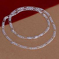 Vente en gros 20PCS Lot Figaro Chaîne 925 Chaînes en argent de collier de bijoux + Fermoirs de homard Taille de 4M 16,18,20,22,24,26,28,30