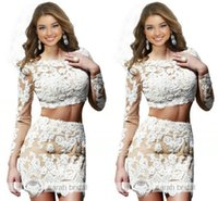 2015 Two Piece Short Lace Prom Dresses with Sheer Long Sleev...