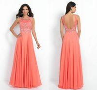 2015 Coral Chiffon Beaded Prom Dance Dresses Custom Made No ...