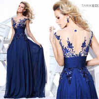 Navy Blue Chiffon Prom Dresses 2015 Inspired By Zuhair Murad...