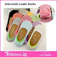 Bamboo Fiber Women Invisible Socks Slippers Invisible Silico...