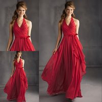 Unique Design Red Prom Dresses A Line Halter Ruched Chiffon ...