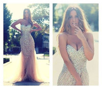 Top Quality Crystals Mermaid Prom Dresses for Women Champagn...