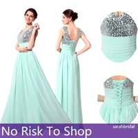 2015 Long Mint Chiffon Prom Dresses with Sequins V- Neck Lace...