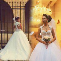 2015 Saudi Arabic Winter Ball Gown Wedding Dresses Sexy Back...