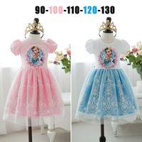 In stock latest elsa dresses lace snow short sleeve Children...