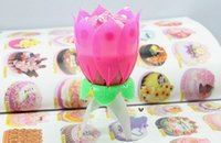 Romantic Blossom Lotus Flower Candle Birthday Party Cake Mus...