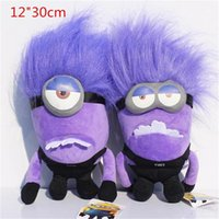 "DESPICABLE ME 2 PURPLE EVIL MINION 12"" 30cm 3D PLUSH DOL..."