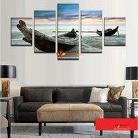 Unframed 5 шт Океан корабль Морской пейзаж Современные абстрактные стены дома Декор Холст Изображение Art HD печати Картина на холсте для домашнего декора