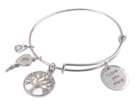 1PCS Expandable Wire Bangle I Love you more Round Charm Brac...