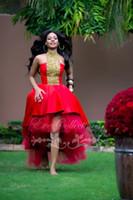 Мода Красный Hi Lo платья выпускного вечера 2016 Линия выполненное на заказ желтый бисером шнурка линии последняя африканская официально партия вечера Pageant Gonws