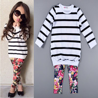 Cute Baby Kids Girls Clothes Stripe T- shirt Tops + Floral Le...