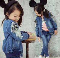 2015 Autumn Kids Clothes Kid Wing Embroidery Girls Denim Jac...