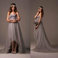 Anna Campbell Style Silver Tulle Hi Lo Bridesmaid Dresses 20...