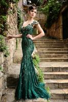 Rami Salamoun Mermaid Evening Dresses Sexy Deep V- Neck Cap S...
