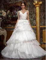 Attractive 2015 A- Line Princess Wedding Dresses V- neck Ruche...
