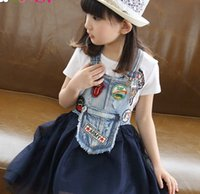 For Big Children Girls Dresses 2015 Summer Kids Appliqued Co...