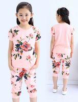 For Big Children Sets Girls Clothes 2015 Summer Girl Flowers...