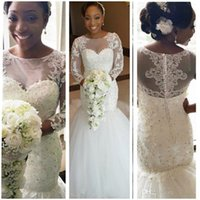 2016 African Long Sleeves Lace Mermaid Wedding Dresses with ...