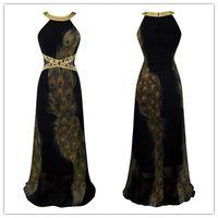 2015 Black Peacock Dresses vestido de festa Halter Long Chif...